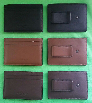 COACH Leather Money Clip Card Case F75459 Mahogany - Black - Dark Saddle