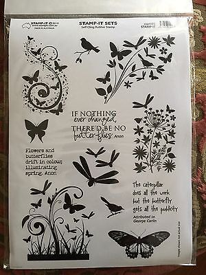 Brand New Stamp-it Brand  Self Cling Rubber Stamp Set Flowers Butterflies