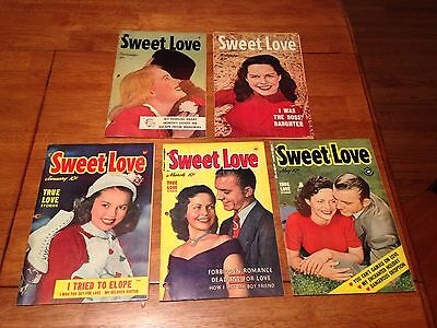Sweet Love 5 Lot Run 1,2,3,4,5 (1949/1950) * Harvey File 3-Hole Punched Copies