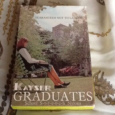 Vintage 60's Kayser Graduates School Stretch Nylon Stockings Size 9.5