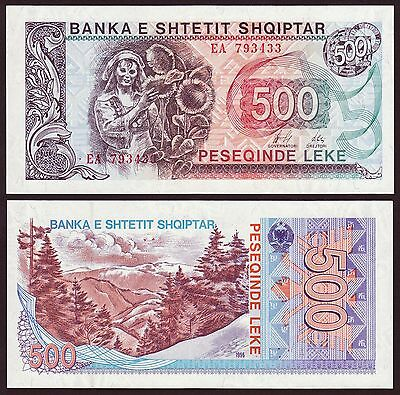 Albania Banknote Paper Money, 500 leke 1996, UNC. Reprint of 1991.