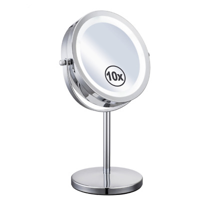7'' LED Makeup Rotation Double-Side Mirror 10X Magnification Light Polished