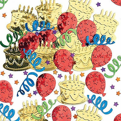 Happy Birthday Cake Party Embossed Foil Confetti Table Sprinkles