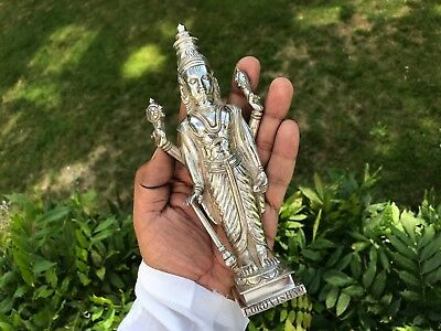 Lord Vishnu Antique Anglo Indian Solid Silver Sculpture 19.5 Cms. 1890.