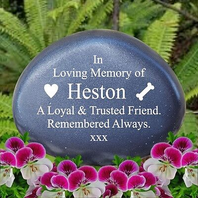 Pet Memorial - Personalised Memorial Pebble - Grave Stone Weatherproof - SKU6045