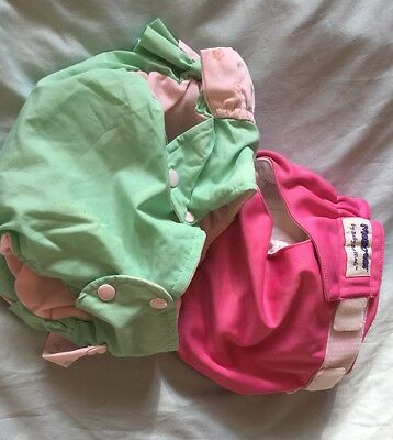Fabric Nappy BabyBeehinds Magic-alls Nappy Pink & Nappy Cover Frilly Pink/Green