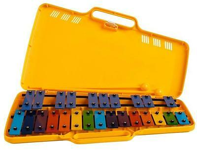 Angel Ax25N Chromatic Glockenspiel. 25 Coloured Metal Bars, Yellow Case.
