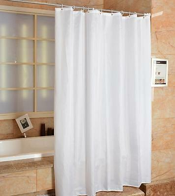 Waterproof Polyester Fabric Solid White Bathroom Shower Curtain With Hooks