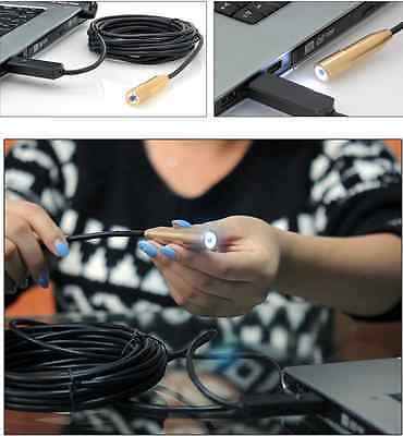 15M Waterproof LED USB Endoscope Video Camera Inspection Borescope Snake For PC