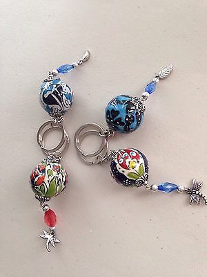 Stunning Authentic Ball Shaped Porcelain Keyring's - Individual Sale - Brand New
