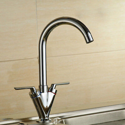 Kitchen Sink Faucet Double Put Single Hole House Hot and Cold Faucet Hardware
