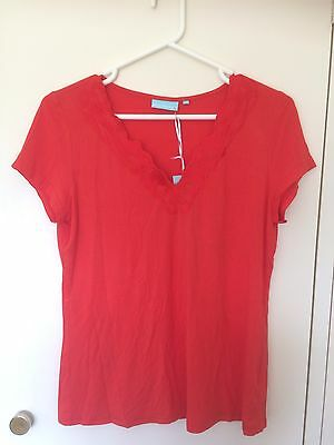 Womens Blue Illusion Red V Neck Top/T Shirt Size M New w/tags