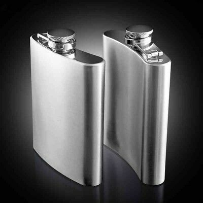 7 8 10oz Stainless Steel Hip Liquor Whiskey Alcohol Flask Cap Pocket Wine Bottle