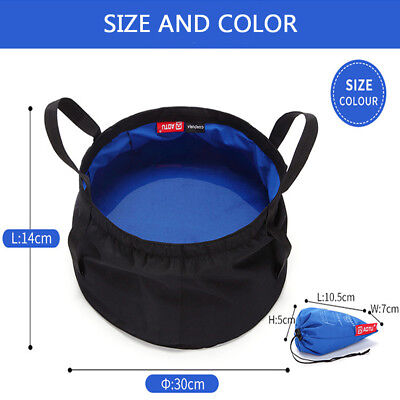 8.5L Portable Outdoor Camping Bucket Fishing Basin Water Carrier Wash Bowl Bag