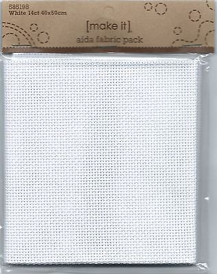 White 14 ct  Aida Fabric 40 x 50 cm Pack