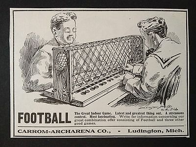 Antique 1905 Print Ad (D2)~Football The Great Indoor Game Carrom-Archaeena Co.