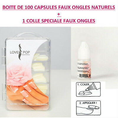 Lot Boite 100 Capsules Tips Naturel Faux Ongle Gel Uv Vernis  + Colle Ong012