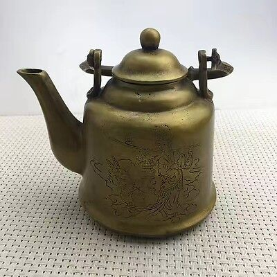 Collectible  Old Handwork chinese Copper Carved beauty child Tibet Tea Pot
