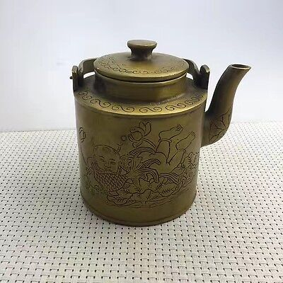 Collectible  Old Handwork chinese Copper Carved child hug fish Tibet Tea Pot
