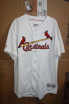 Cardinals St. Louis MLB Majestic Baseball Jersey Size Large White Short Sleeve