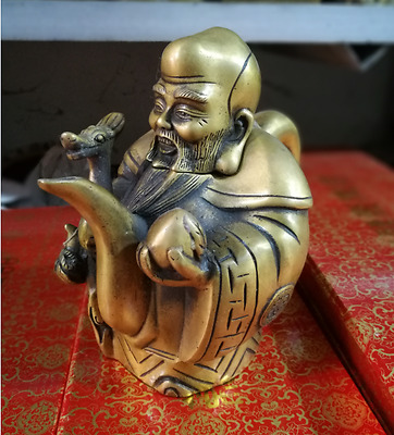 Collectible china Old Handwork Copper Carved old god of longerity statue tea pot