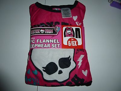Monster High  Girls  2pc Flannel Pajama Set  Size  6/6X  NWT