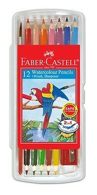 Faber-Castell 12 Watercolour Pencils + Brush, Sharperner