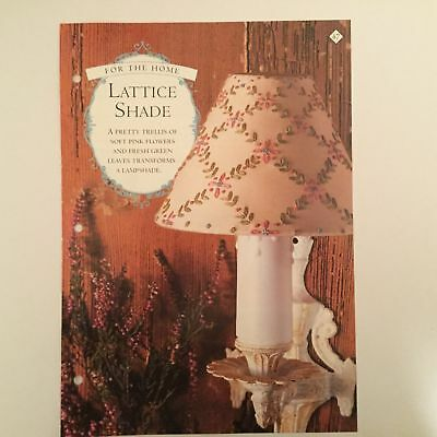 Needlework pattern: Lamp shade floral embroidery design and instructions