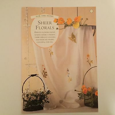 Needlework pattern: Floral sheer curtain embroidery design and instructions