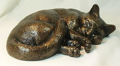Cat (Sleeping) - Cold Cast Bronze Resin Sculpture by John Rattenbury