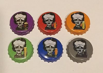 6 used Raven beer bottle caps 6 different Edgar Allan Poe
