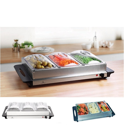 Stainless Steel Food Warmer Adjustable Electric Buffet Server With 3 Station