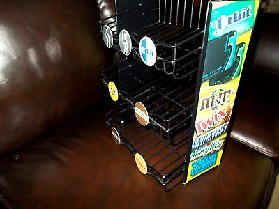 M&M Mars Advertising Store Candy Counter Black Display Shelf RARE Rack 3 -Tier !