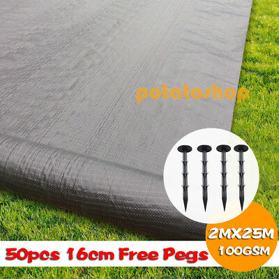 PEGS + 2 x 25m HEAVY DUTY 100gsm Weed Control Fabric Ground Cover Membrane