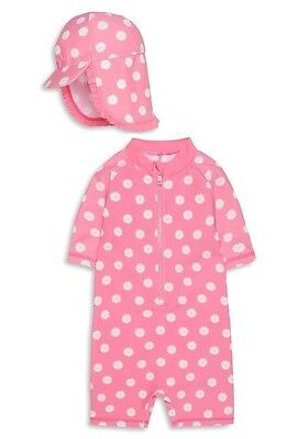 Baby Girls UV Swimsuit with Hat Sun Protection UV40 Sunsafe 2 Piece Set NEW BNWT