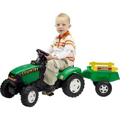 Kids Country Tractor & Trailer Childrens Ride On Pedal Toy Tractor