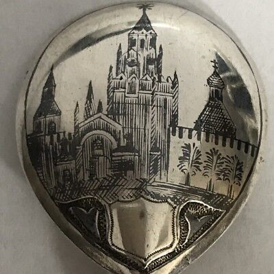 Antique Solid Silver Russian Spoon Niello Enamel Scene Moscow Probably Faberge