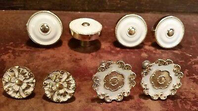 8 Vintage Brass & Porcelain Jb Drawer Handles Pulls Knobs