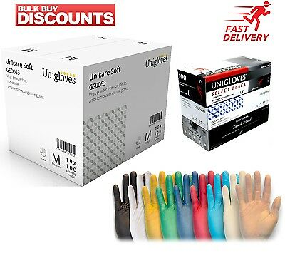 Unigloves Disposable Latex, Nitrile or Vinyl Gloves  Powder Free - 100 Boxed