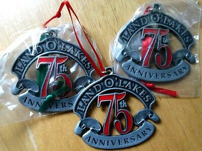 3 LAND O' LAKES pewter Christmas Ornaments, 75th Anniv., 1996, all same design
