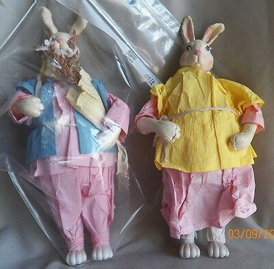 "Vintage 10"" Mr & Mrs Bunny Rabbits Easter Spring Plastic Crepe Clothes Whimsical"