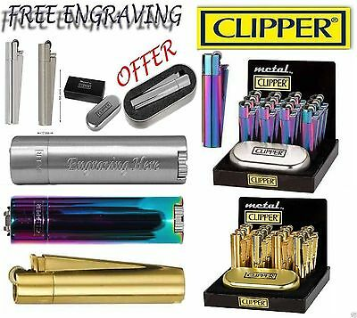Clipper Metal Lighter With Free Engraving Personalised Gift Box Icy Silver Gold