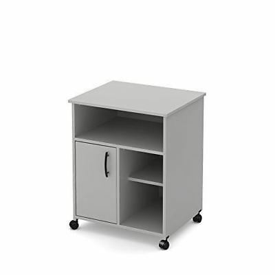 South Shore Furniture 10705 Axess Microwave Cart with Storage on Wheels, Soft Gr