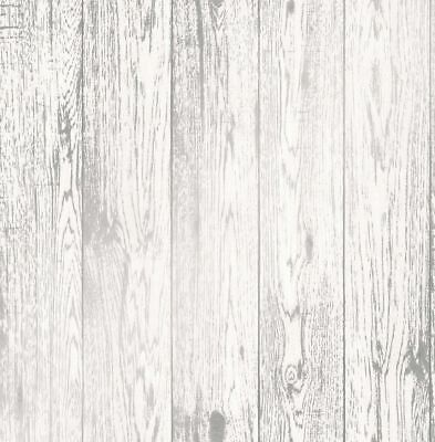 White Metallic Silver Wood Effect Wallpaper Wooden Grain Distressed Loft Wood