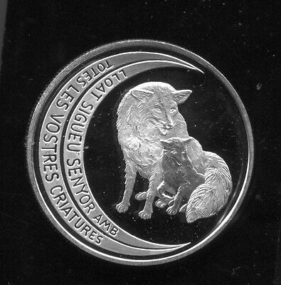 Andorra - Spectacular Rare Silver Wolf 10 Diners, 1997, Wildlife Series Km# 131