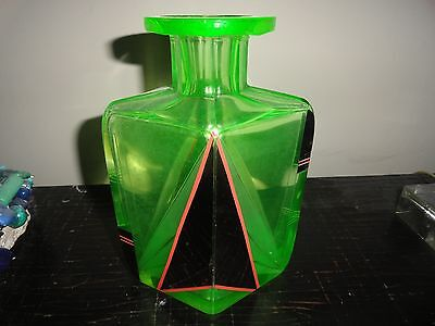 Art Deco Green Colored Glass Decantor/Vase Vintage with silver plate inlay, etch