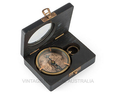 Vintage Nautical Royal Compass Beveled Glass Copper Brass Pocket Wooden Gift Box