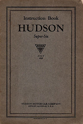 1925 Hudson Super Six ORIGINAL Owner's Manual