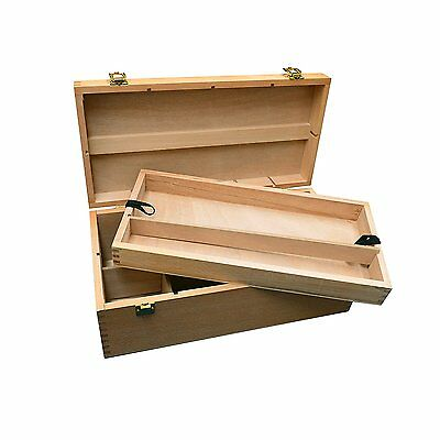 Artists Wooden Painting Supplies Storage Box with Handle & Pull Out Tray