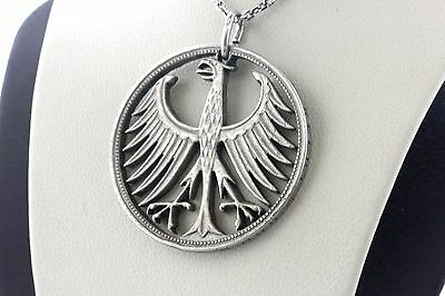 German Five 5 Mark Silver Cut Out Eagle Federal Republic Coin Charm Pendant